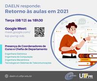 """""""DAELN Responde"""" vai abordar o calendário acadêmico de 2021 nesta terça (08/12) às 18h30"""